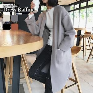 コーディガン レディース アウター ロング丈 襟なし 羽織 大きいサイズ ゆったり グレー ベージュ ブラウン ブラック 黒 秋 冬 シンプル