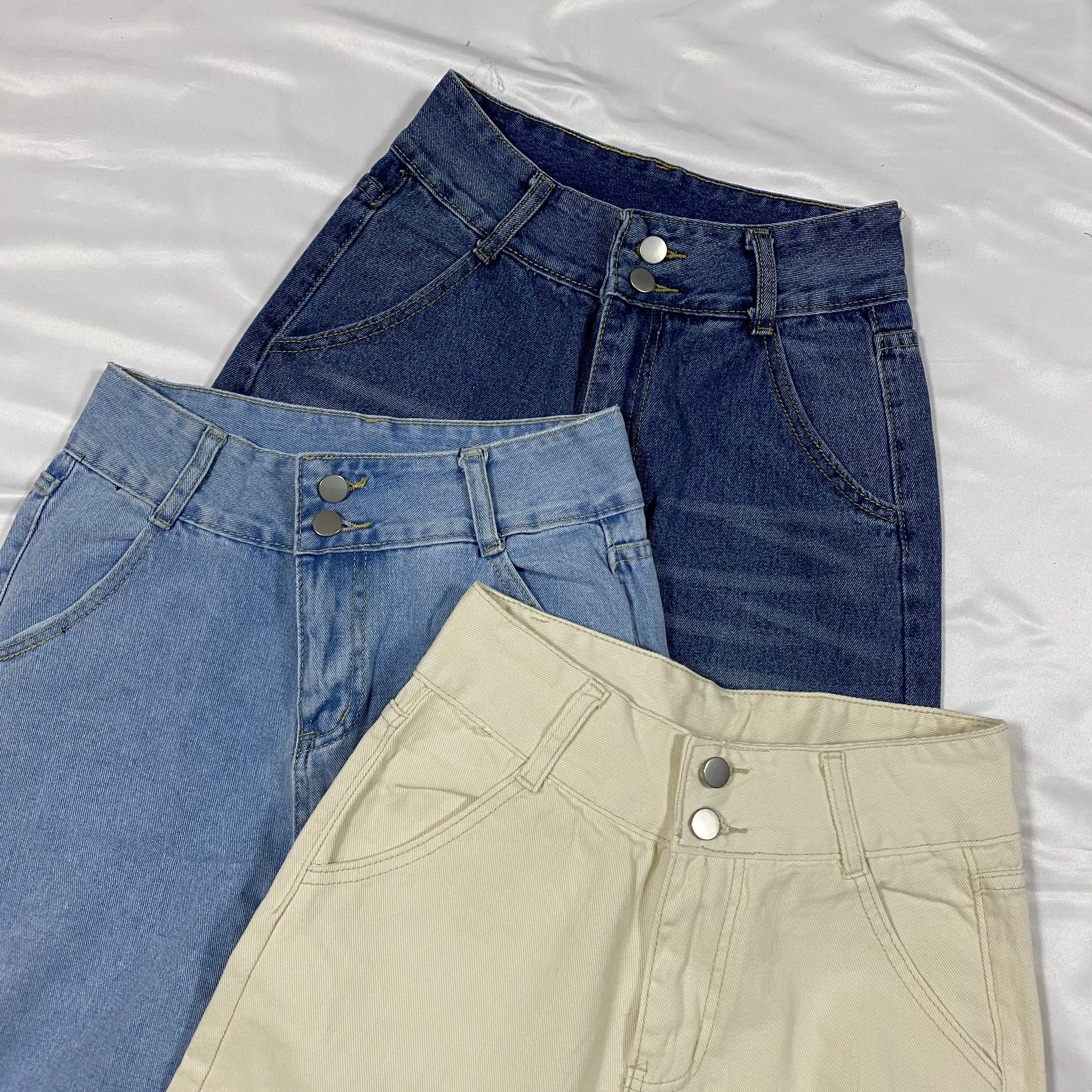 two button high waist pants[2104-28]