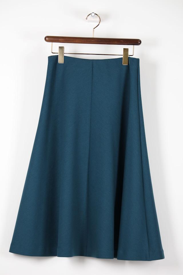 ブルーグリーンの無地フレアースカート1063W