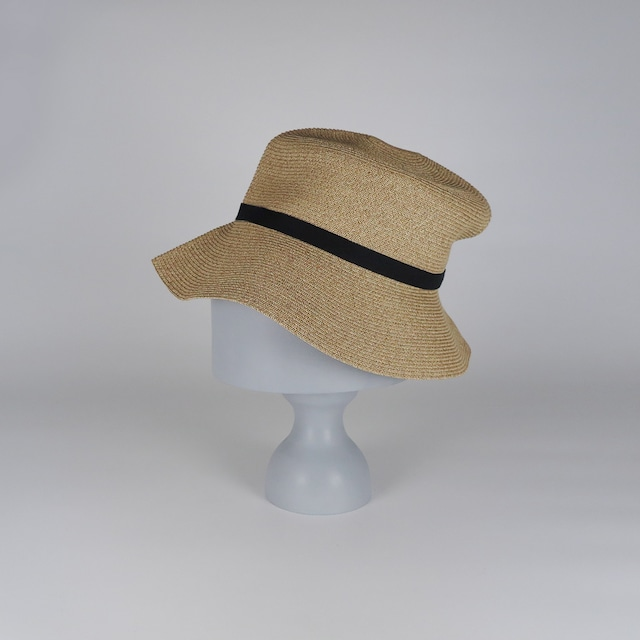 SS21-BD-5 Paper Braid Rollable Hat - BEG/BLK