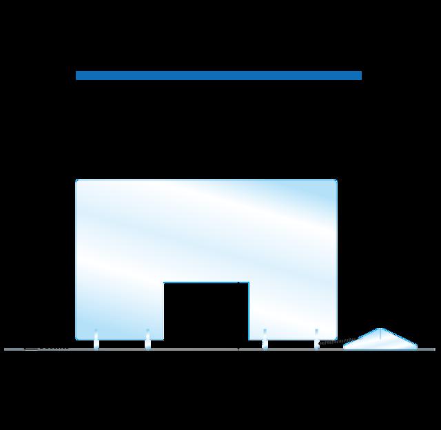送料無料 飛沫感染予防アクリルパーテーション ACP550-51 窓あきタイプ コロナウイルス対策