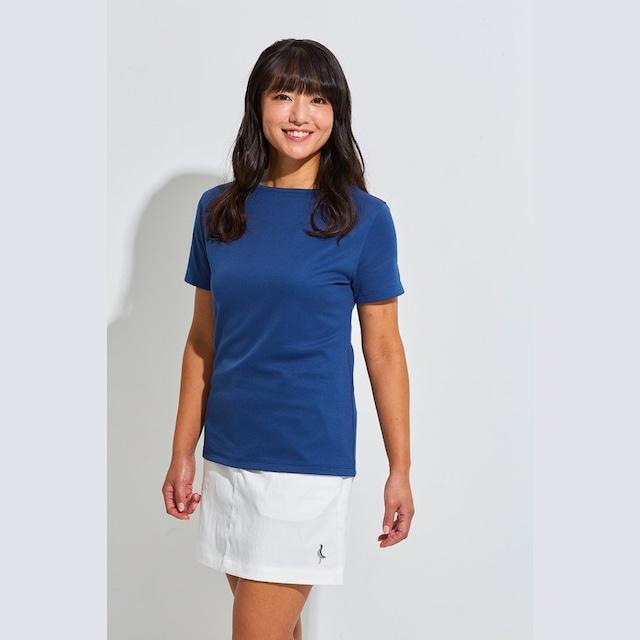 【 LADIES 】Tシャツ <ボートネック><NAVY><Sサイズ>