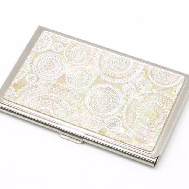 天然貝 名刺カードケース(ホワイトレース)シェル・螺鈿アート