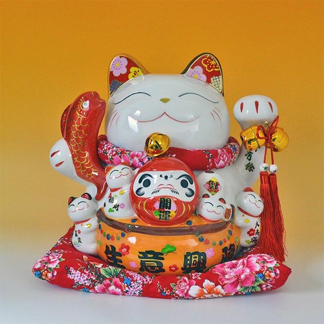 招き猫 q19002 まねきねこ まねき猫ファミリー 特大 だるま めでたい ホワイト 白 笑い猫 置物 金運アップ 人運 開運招福 開店祝い 商売繁盛 千客万来 縁結び 子宝 才能開花 Q19002 高さ31cm