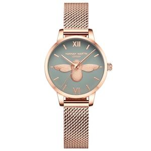 HMステンレススチールメッシュ腕時計トップブランドラグジュアリージャパンクォーツムーブメントローズゴールドデザイナーエレガントなスタイルの時計女性用HM-112L