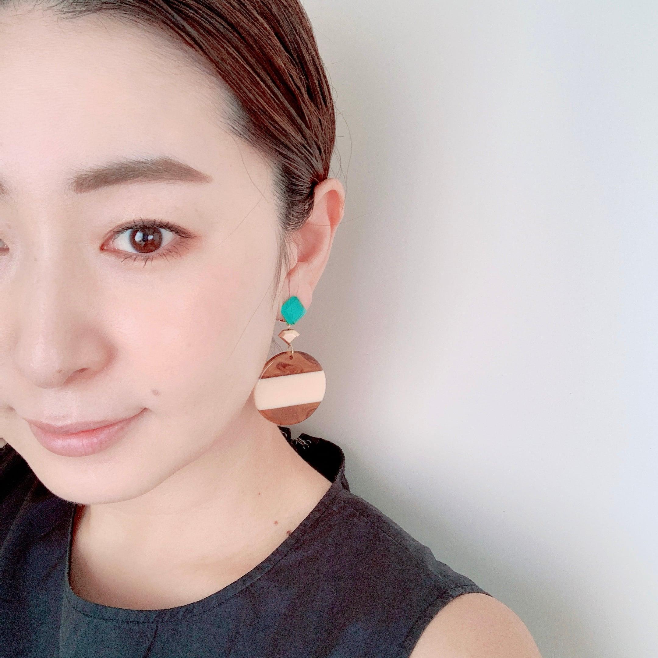""" Earrings NO.danoan-40″ ペイントと天然石とBIGチャーム"