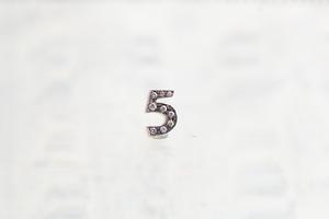 数字 シングルピアス  SV925 Numéro diamant 5