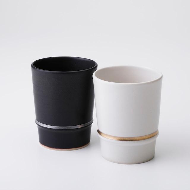 """京焼ペアフリーカップ「マットブラック/クリーム」 Kyo-ware pair of cups""""MatteBLACKI/Cream"""""""