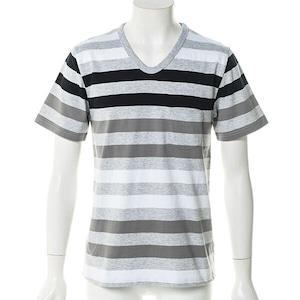 Vネック半袖転換ボーダーTシャツ(グレー) CWS5230
