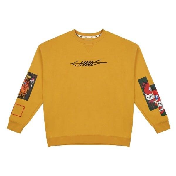 【MANG】フロント刺繍&アームグラフィックプリント ロングスリーブTシャツ イエロー