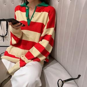 【トップス】学園風長袖ボーダー配色POLOネックプルオーバーセーター43010591