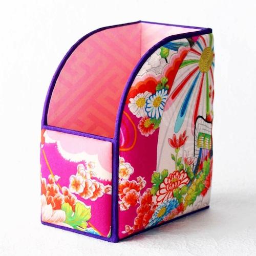 和風インテリア雑貨 ファイルBOX 赤紫 毬・御所車花文様