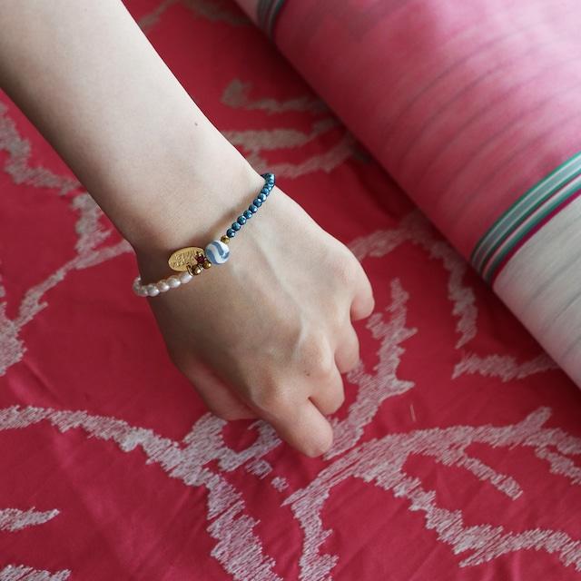 水紋天珠×ブルーヘマタイト ×パール【ブレスレット】〈ゴールド〉