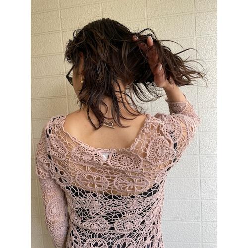 crochet baby pink knit