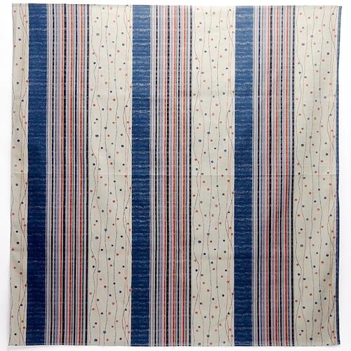 縞小紋 青 木綿 3巾風呂敷(約100cm角)【日本製】