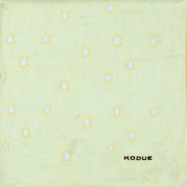 ひびのこづえ ハンカチ 四角穴 / イエロー 刺繍入り 2枚合わせ 48x48cm KH07-05