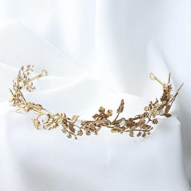 Crystal gold flower tiara