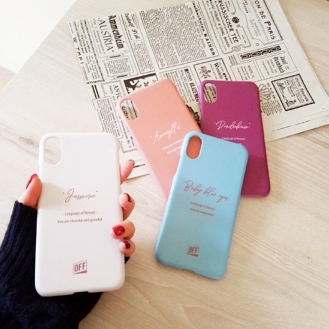 OFF(オフ)フラワーメッセージ スマホケース iPhoneX iPhoneXS iPhone7 iPhone8 iPhoneケース アイフォンケース スマートフォンケース 花 花言葉 メッセージ フラワー マット ブランド