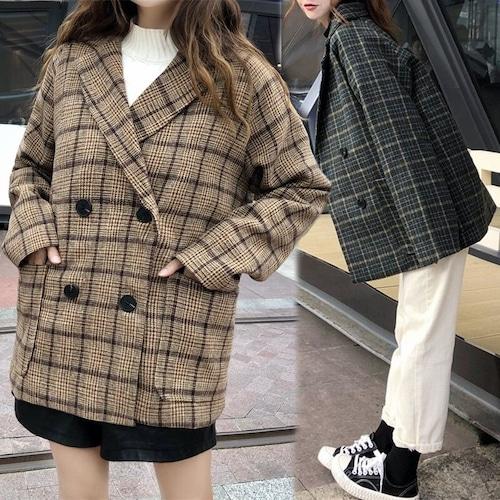 チェック柄 ラシャ テーラードジャケット 韓国ファッション レディース ウールジャケット アウター防寒 レトロ DTC-603067482652