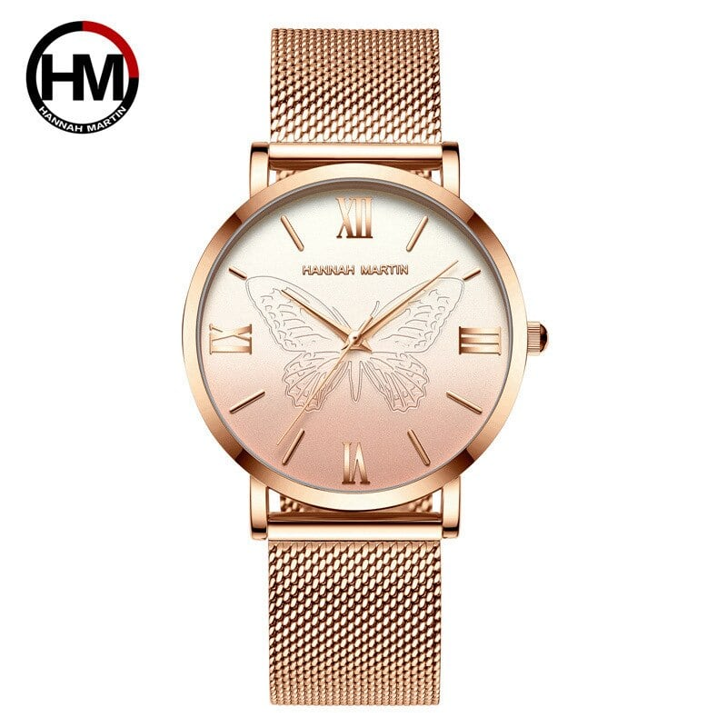 女性用時計日本クォーツムーブメント3Dバタフライトップブランド高級ステンレススチール防水腕時計relogiofemininoHM-13620-MJ
