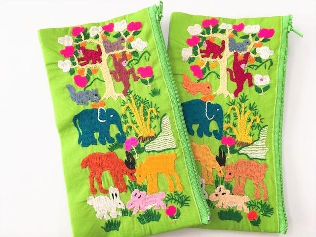 モン族刺繍♡アニマル刺繍ポーチ【ライトグリーン】