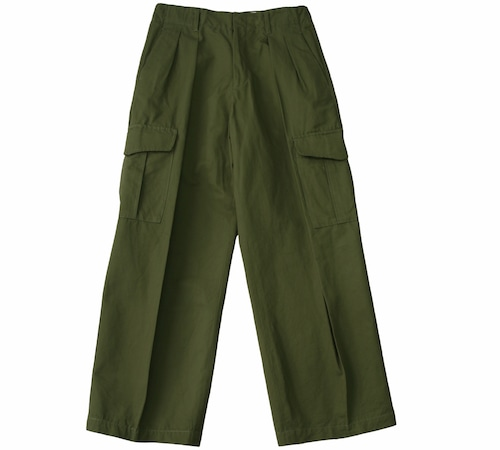C/LI DOUBLE TUCK CARGO PANTS / 綿麻ダブルタックカーゴパンツ(KHK)