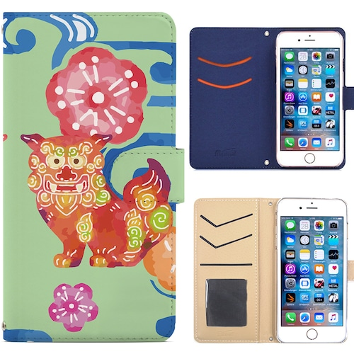 Jenny Desse iphone 6/6S plus ケース 手帳型 カバー スタンド機能 カードホルダー グリーン(ブルーバック)