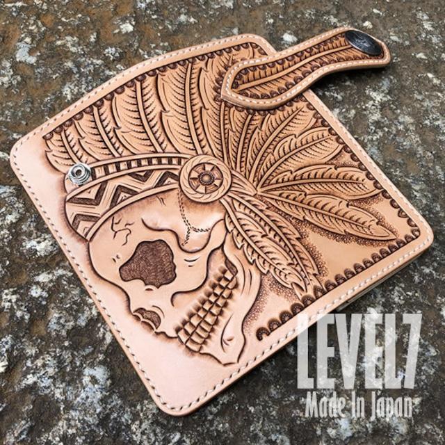 長財布 ロングウォレット インディアンスカル フィギュアカービング 手縫い イタリアンレザー ヌメ革 バイカーズウォレット 日本製 LW-SKULL1 LEVEL7