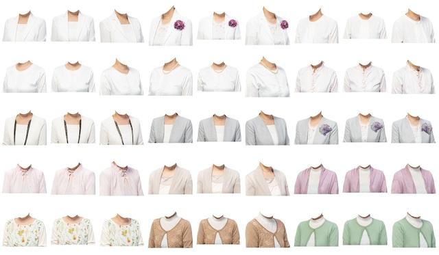 女性着せ替え素材セット(白系) 45個 C213