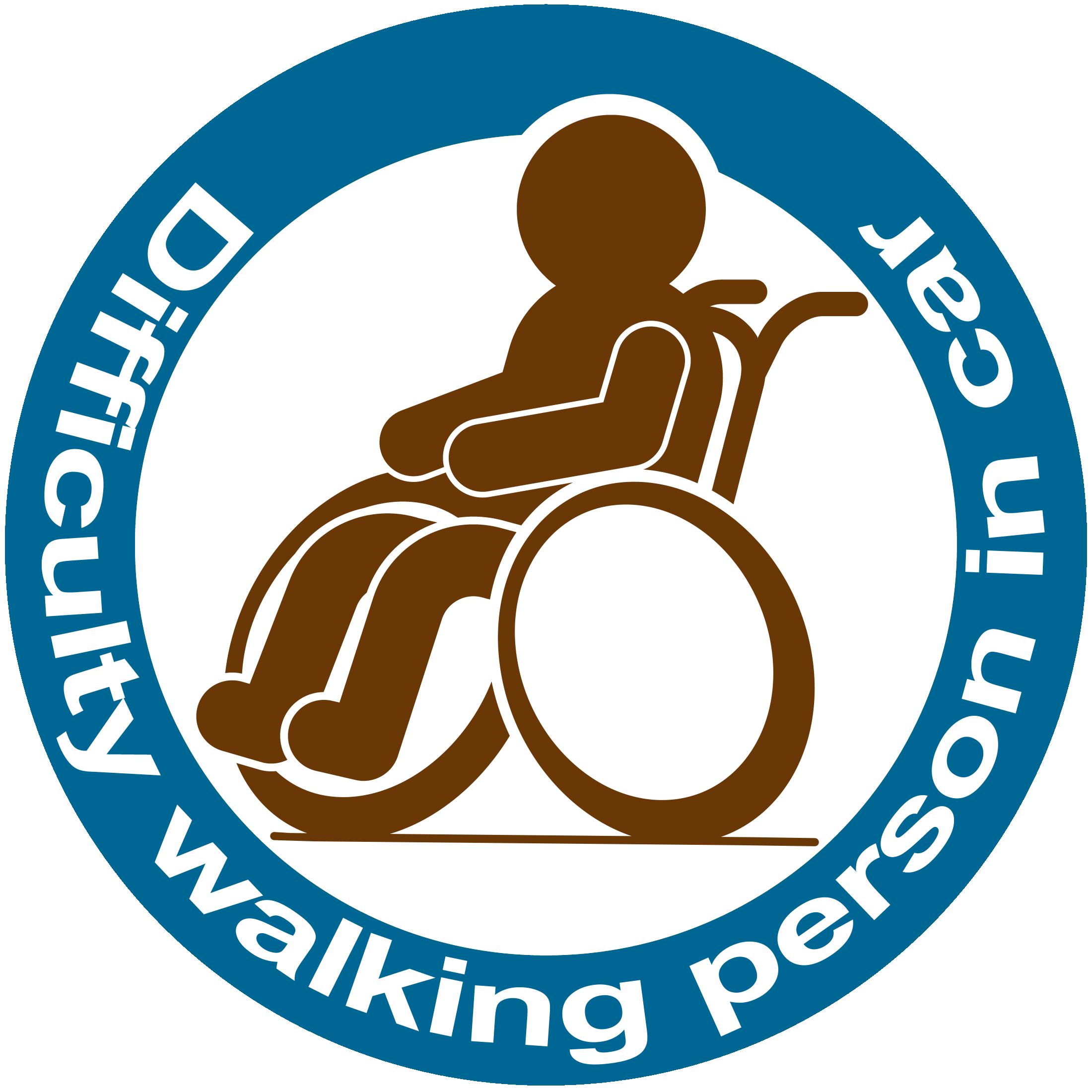 Difficulty walking parson in car ステッカー(青×茶)