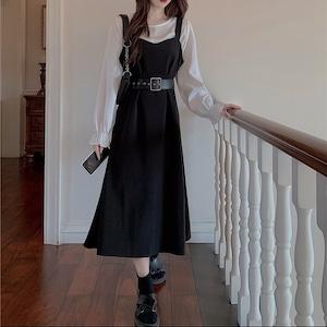 belt apron dress 3set