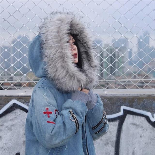 【ラスト1点】denim fur down jacket