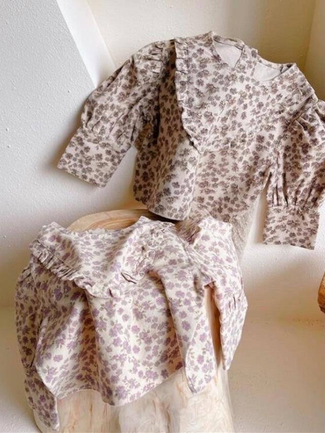 flower print frill blouse