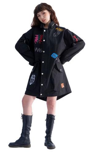 【MAN-G】英字ロゴ刺繍モッズコート