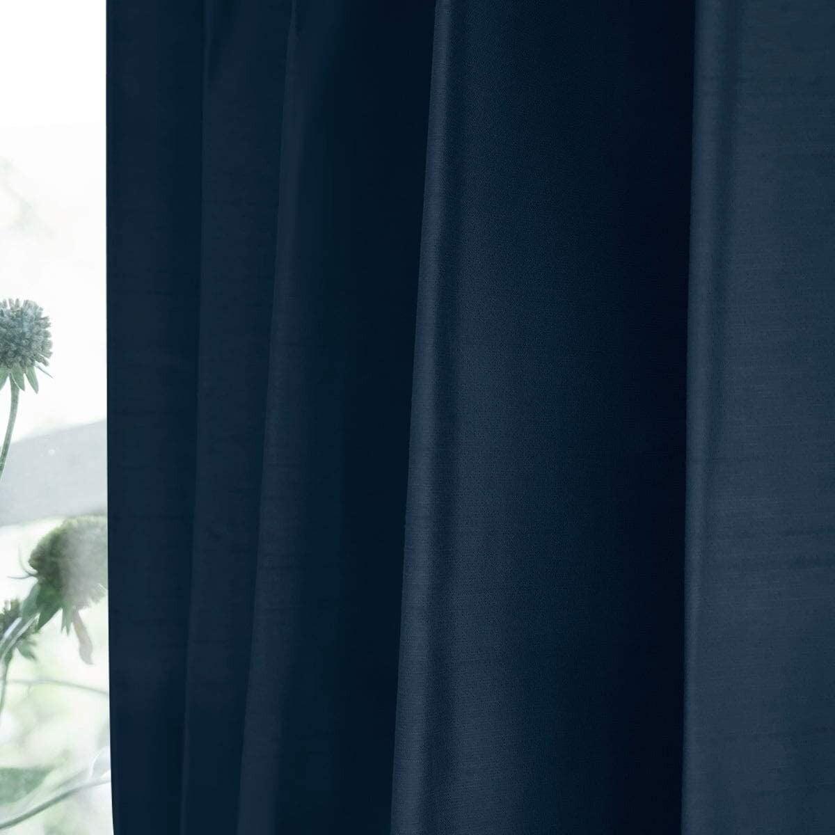 シャイニー/ネイビー 完全遮光 1級遮光 遮熱・断熱 防音 形状記憶加工 ウォッシャブル カーテン 2枚入 / Aフック サイズ(幅×丈):100×200cm kso-027-100-200