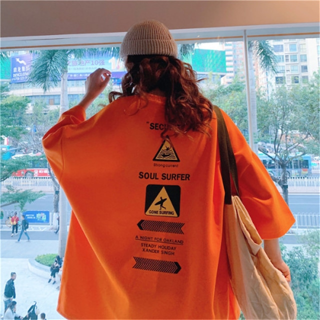 【トップス】ルーズプリントファッションTシャツ42906657