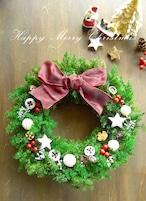 ホワイト&レッドのフォレストグリーンのクリスマスリース~ミドル