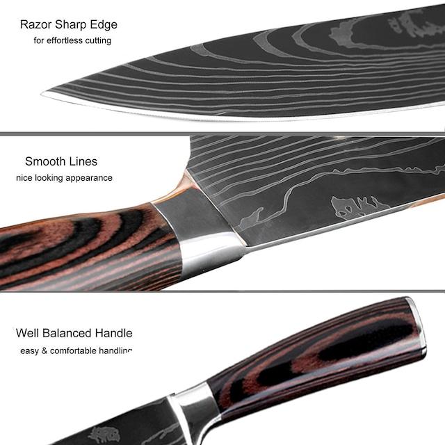 ダマスカスパターン包丁 【XITUO 公式】 スライスナイフ 刃渡り20cm 7CR17 ks20030409