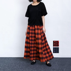 Bluene(ブルーネ) Ombre Check Long Skirt   [送料無料]