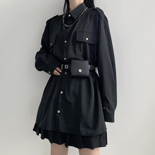 【大魔王シリーズ】★シャツ+ベルト★ 2点セット 原宿風 ブラック 黒い レディースファション