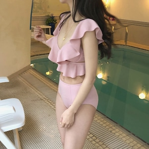 pink highwaist frill bikini