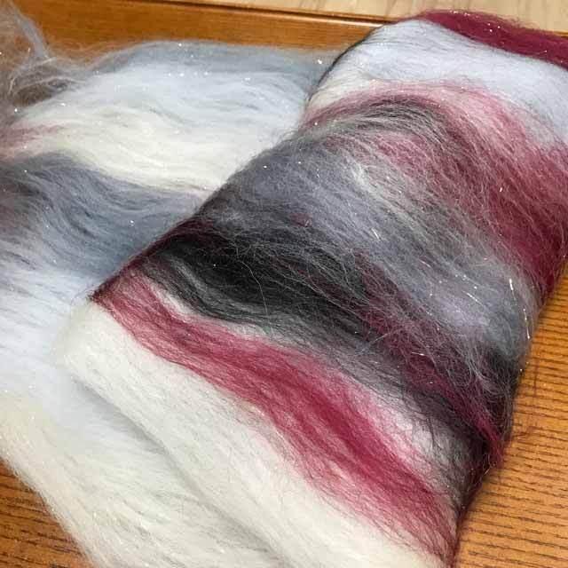 OGY12)羊毛バッツ 赤と黒 オリジナルブレンド
