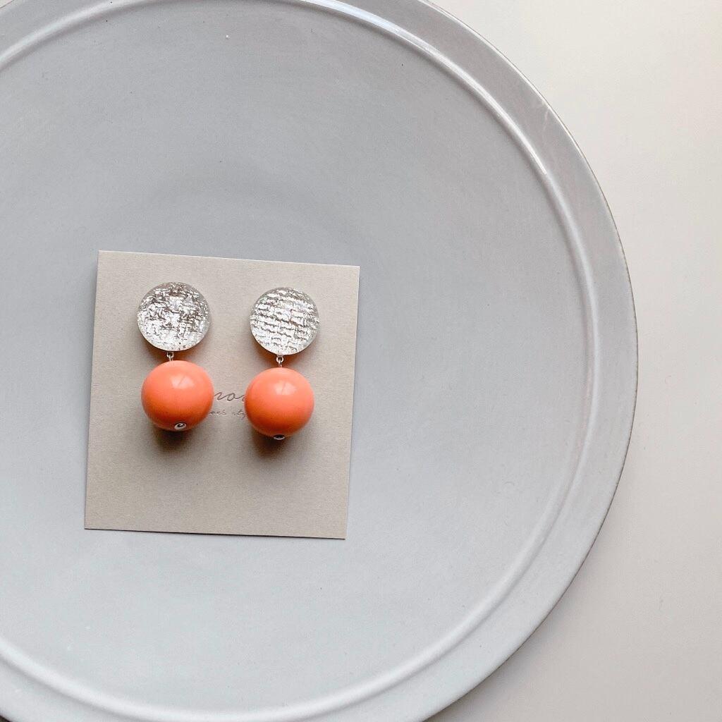 """ Earrings NO.danoan-126″ シルバーファブリックとレトロビーズ"