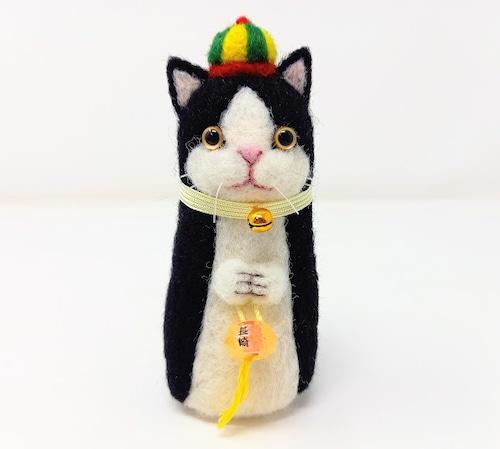 【ランタンねこ】黒白ハチワレ・中華帽