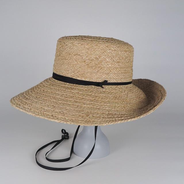 SS21-BD-11 Wide Raffia Long Brim Hat - NAT/BLK