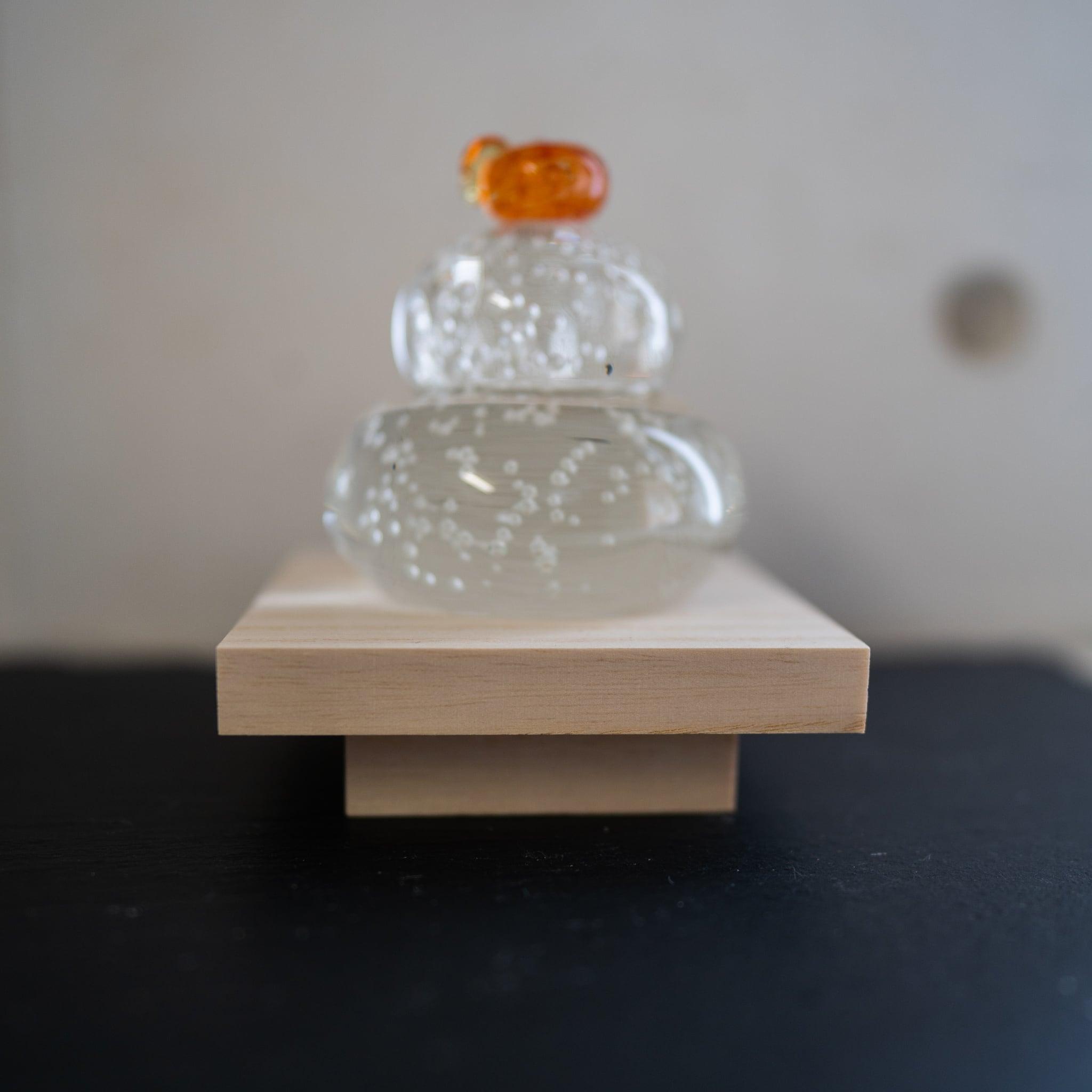 ガラス 福重ね鏡餅 (橙)
