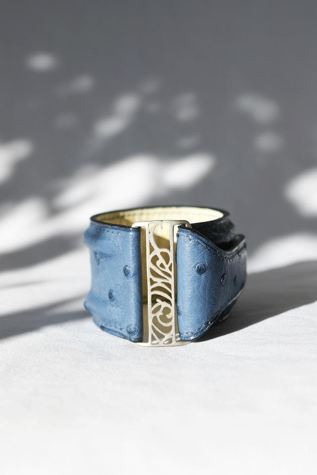 Ostrich Leather Bracelet Blue&Silver オーストリッチレザーブレスレット 青×シルバー