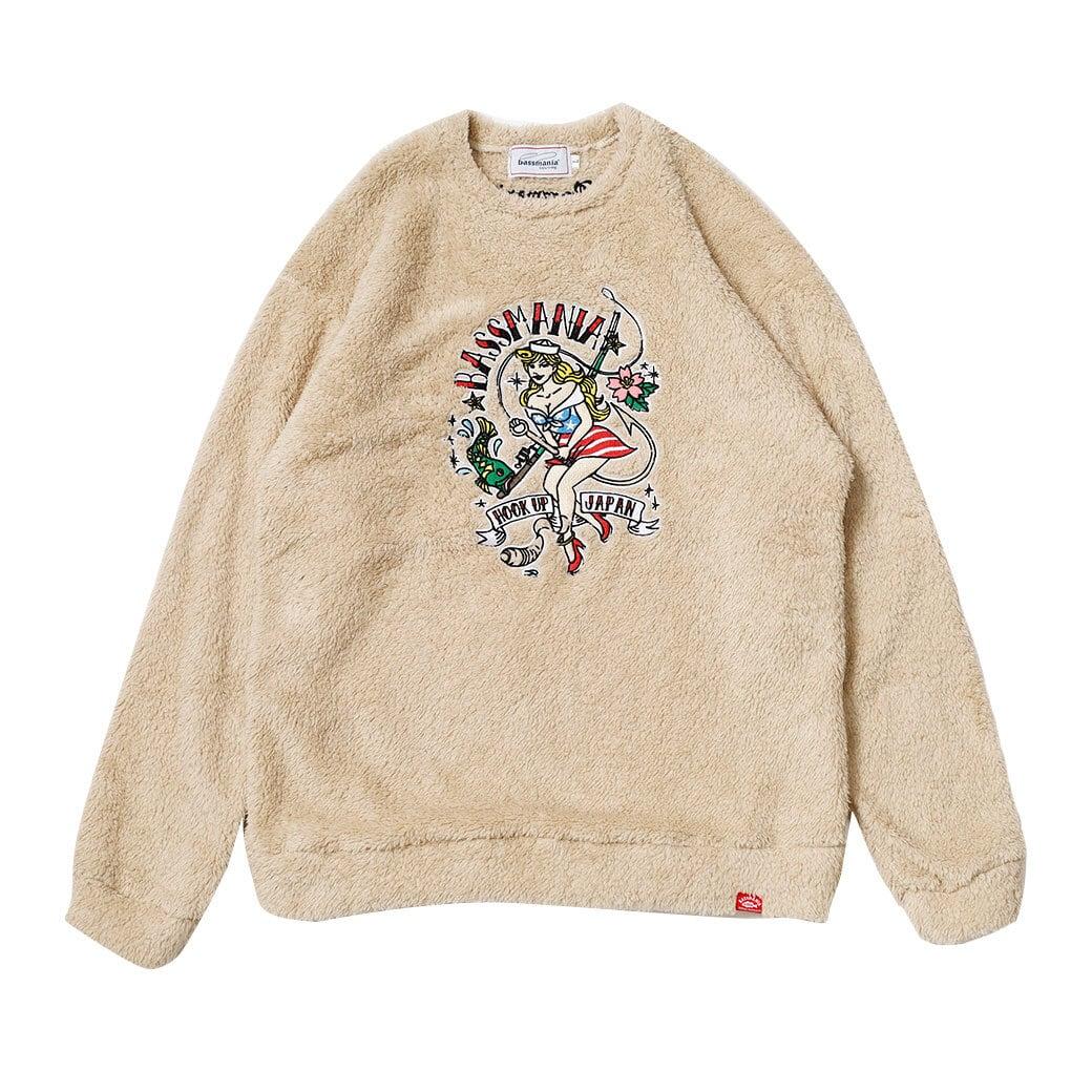 TURI GIRL刺繍ファーボアクルーネック [ベージュ] 【限定生産】