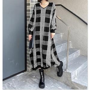 チェック柄セータードレス   1-464