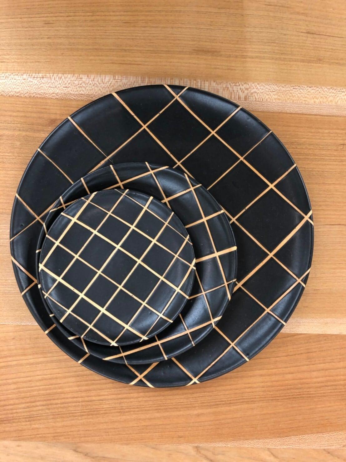 【陶factory509】モノクロ皿 12cm